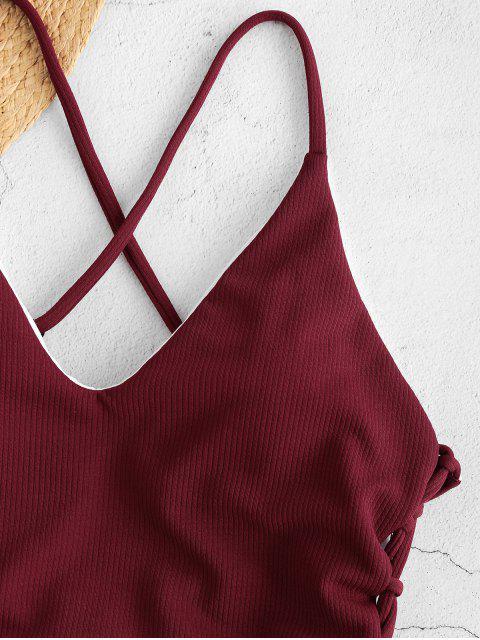 Maillot de Bain Taille Haute à Lacets et Dos Croisé - Rouge Vineux M Mobile