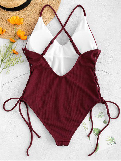 fashion Lace-up Cross High Cut Swimsuit - RED WINE M Mobile