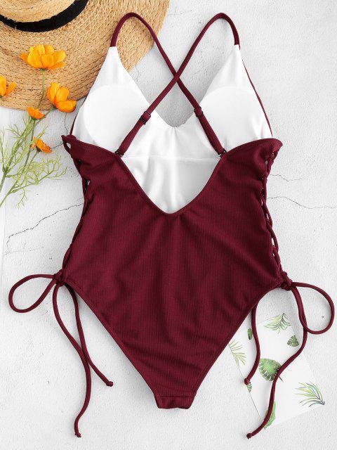 الدانتيل متابعة الصليب السامي قص ملابس السباحة - نبيذ احمر S Mobile