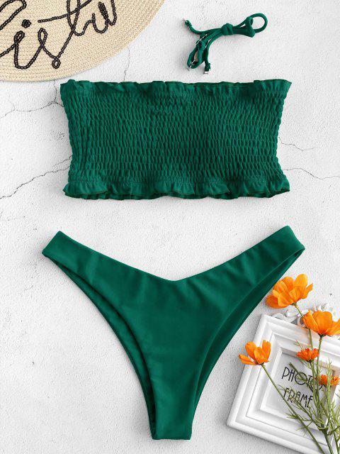 women ZAFUL Frilled Padded Smocked Bikini Set - SEA GREEN L Mobile