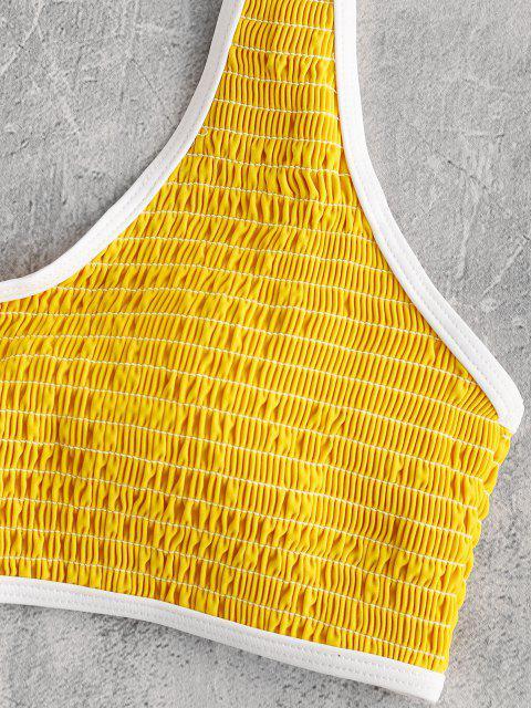 latest ZAFUL Smocked Contrast Piping Bikini Set - YELLOW L Mobile
