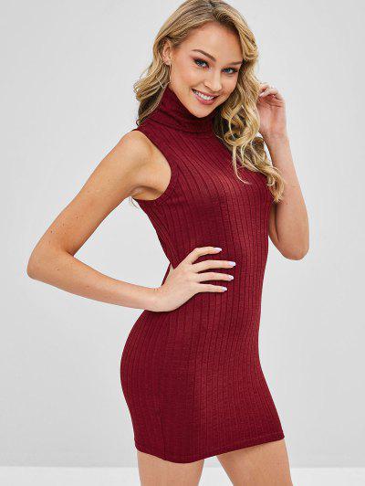 b3f4b62cd60 ... ZAFUL Turtleneck Bodycon Knit Short Dress - Red Wine S