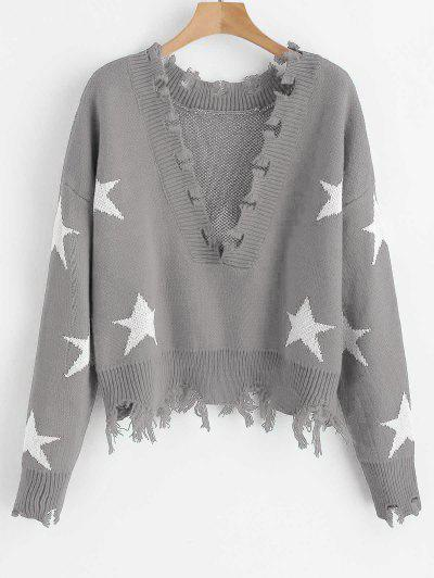 717f332bed32 Conful Cropped Frayed Stars Sweater - Ash Gray ...