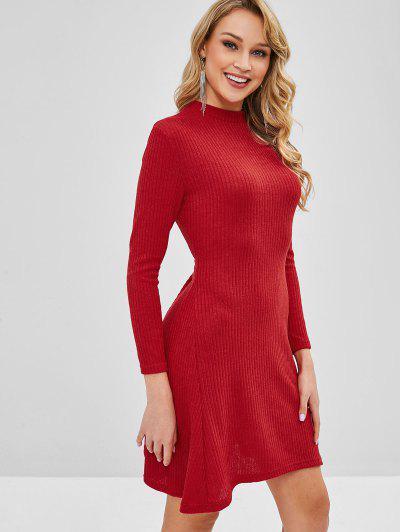 d96aa749703e ... Manga Comprida Vestido De Camisola Com Nervuras - Vermelho L
