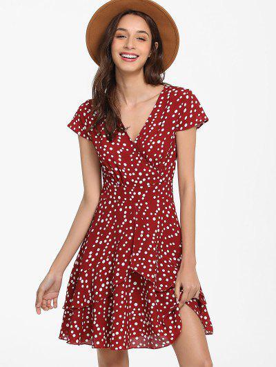 3e61d78e29 ... ZAFUL Polka Dot Surplice Mini Dress - Red Wine S