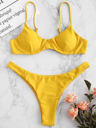 65317be9bb ZAFUL Underwire Cami Bikini Set - Golden Brown S