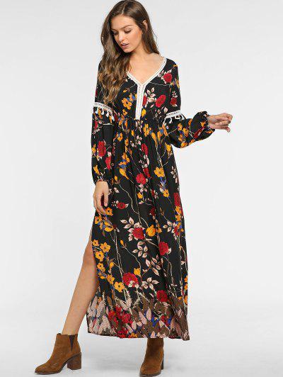 6393672c50 ... Conful Floral Slit Tassel Long Sleeve Dress - Black L
