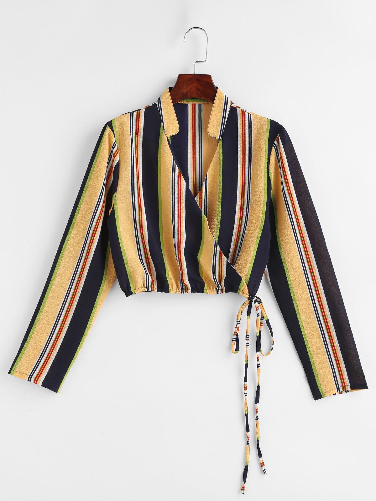 Colorful Striped Tie Surplice Top