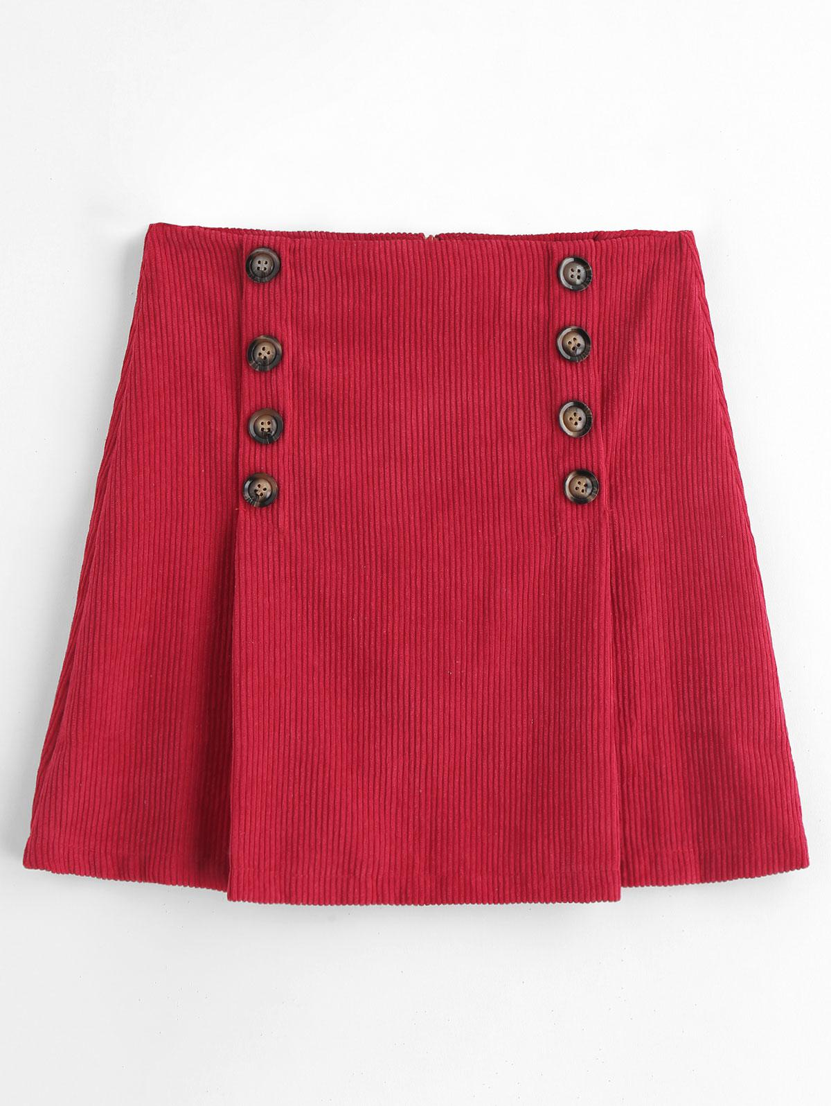 A Line Buttoned Corduroy Mini Skirt, Red