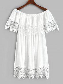 قبالة الكتف Foldover الكروشيه التستر اللباس - أبيض