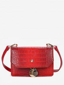 حقيبة كتف قلادة معدنية - أحمر