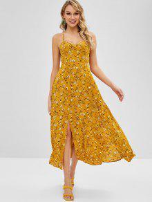 الأزهار طباعة Strappy فستان ماكسي - خردل Xl