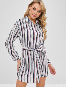 فستان بنمط قميص مخطط - متعددة-a L