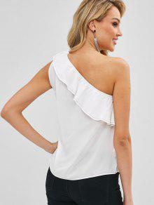 ecf59f2a522 35% OFF] 2019 Ruffles Knotted One Shoulder Sleeveless Top In MILK ...