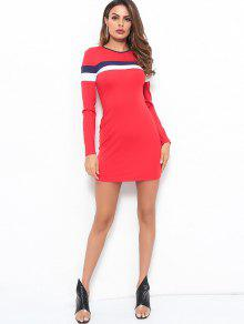 8208ee237a 23% OFF] 2019 Striped Long Sleeves Bodycon Dress In RED | ZAFUL