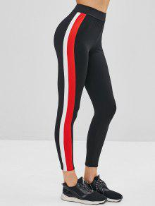 Side Striped High Waist Leggings - أسود L