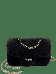 Chain Fluffy Faux Fur Crossbody Bag