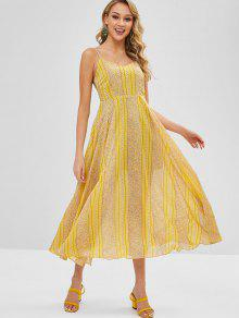 طباعة الأزهار ألف خط كامي اللباس Flowy - الأصفر L