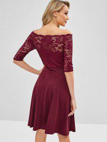 3924cf48f1c 26% OFF  2019 Off Shoulder Lace Scalloped Party Dress In RED WINE ...