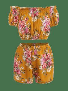 d2929416d0e90 2019 Smocked Floral Off Shoulder Top And Shorts Set In CARAMEL S