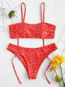 ZAFUL Tie Shoulders Tiny Floral Bikini Set - Lava Red S