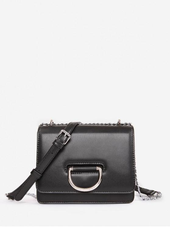 fancy Square Chain Crossbody Bag - BLACK