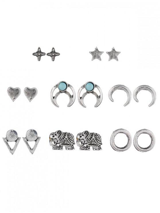womens Crescent Heart Star Shape Stud Earrings Set - SILVER