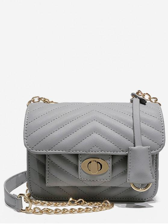 best Buckle Decoration Chain Design Handbag - GRAY CLOUD
