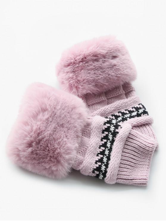 Stylish Fuzzy Knitted Mitten Gloves - Rosado