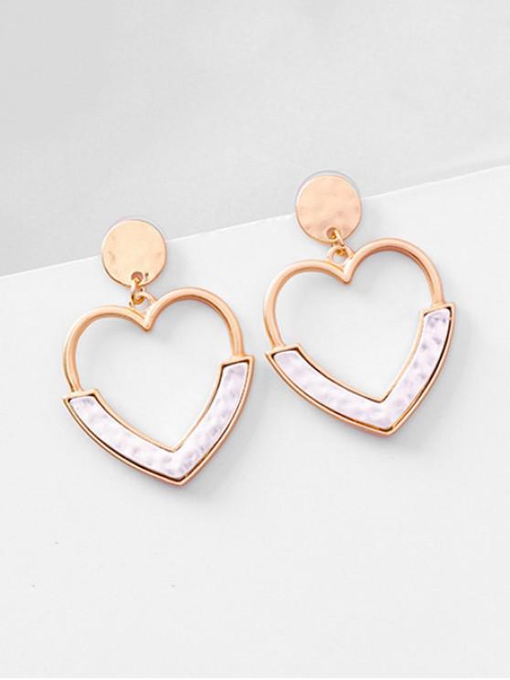 Metal Hollowed Heart Shape Stud Earrings - Bianca