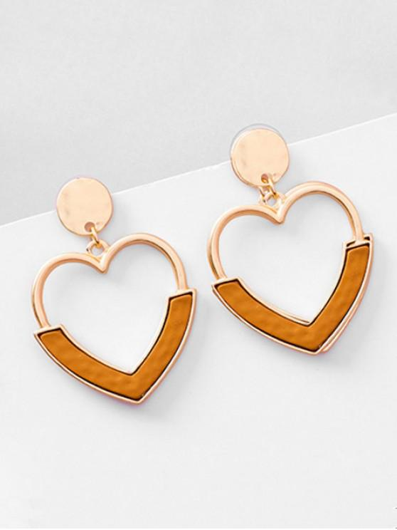 Metal Hollowed Heart Shape Stud Earrings - Café