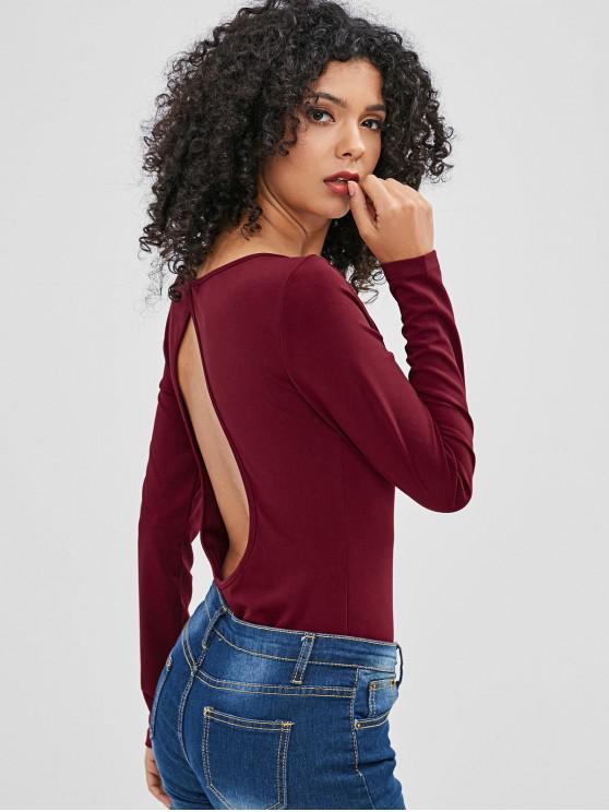 lady ZAFUL Cut Out Long Sleeve Bodysuit - RED WINE M