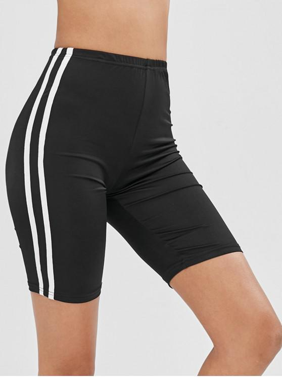 outfits ZAFUL Side Striped Bike Shorts - BLACK XL