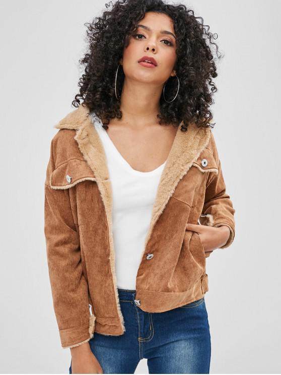 Bolsos jaqueta de veludo forrado de pele do falso - Marrom claro M