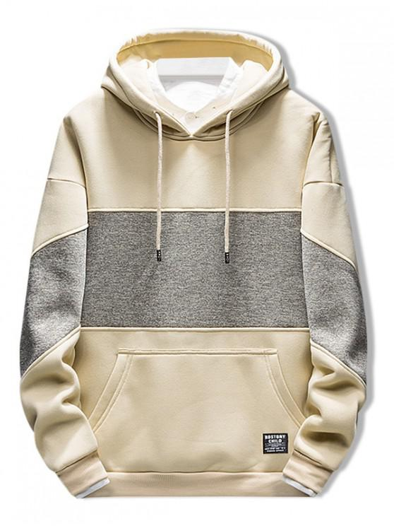 online Applique Kangaroo Pocket Drawstring Hoodie - LIGHT KHAKI L