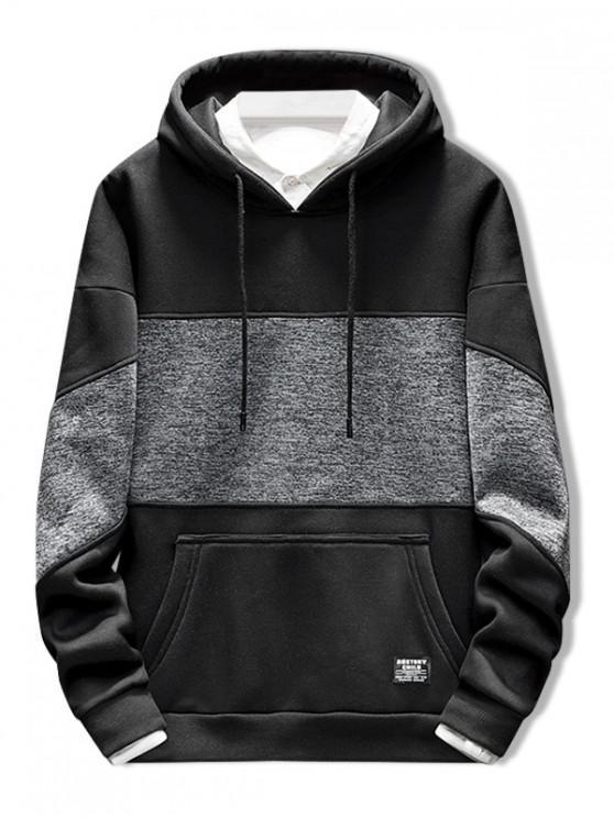 Applique Kangaroo Pocket Drawstring Hoodie - Negro L