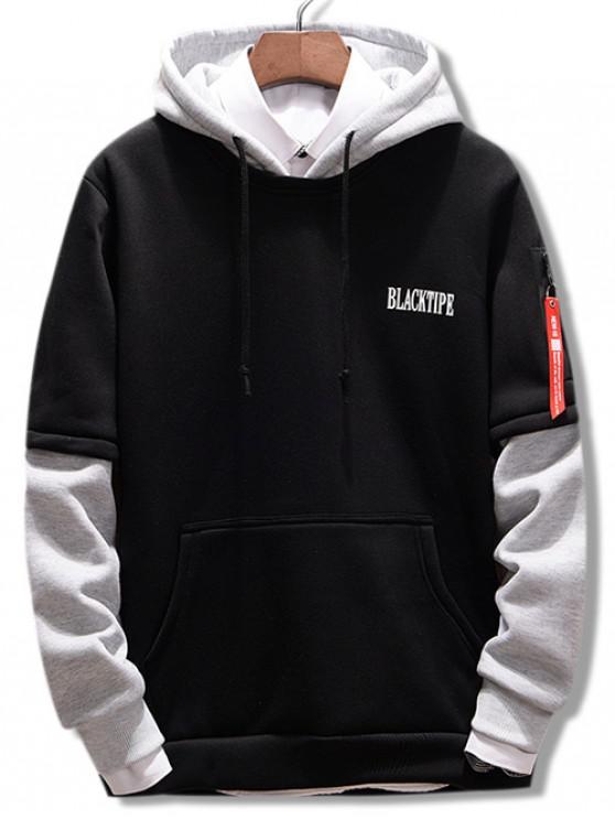 unique Letters Contrast Color Pullover Hoodie - BLACK 2XL