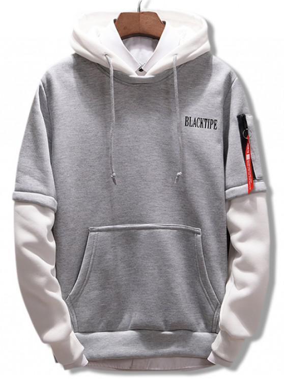Buchstaben Kontrast Farbe Pullover Hoodie - Graue Wolke 2XL