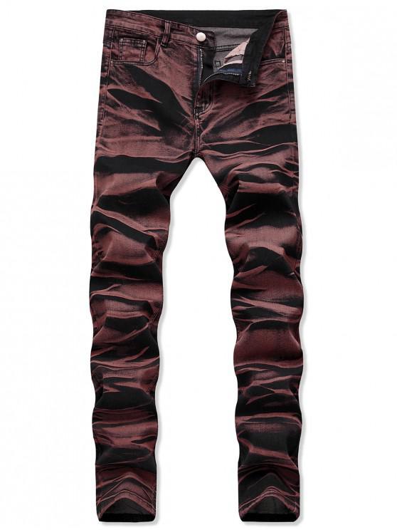 ladies Casual Long Straight Denim Pants - BLOOD RED 40