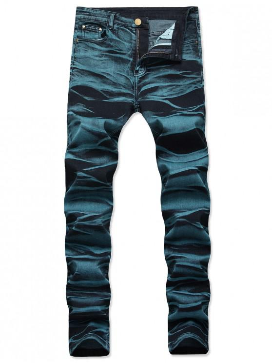 hot Long Straight Zipper Fly Jeans - PEACOCK BLUE 40