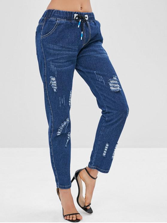 trendy Ripped Drawstring Pocket Jeans - DENIM DARK BLUE XS