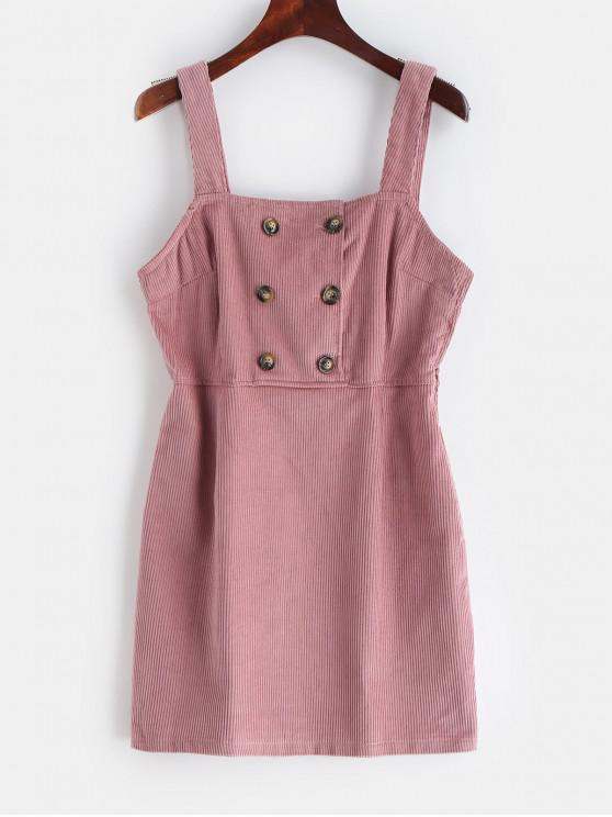 9dc16fb9608 31% OFF  2019 Corduroy Button Embellished Overall Dress In PINK