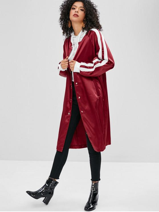 trendy Striped Snap Closure Shiny Bomber Coat - RED WINE S