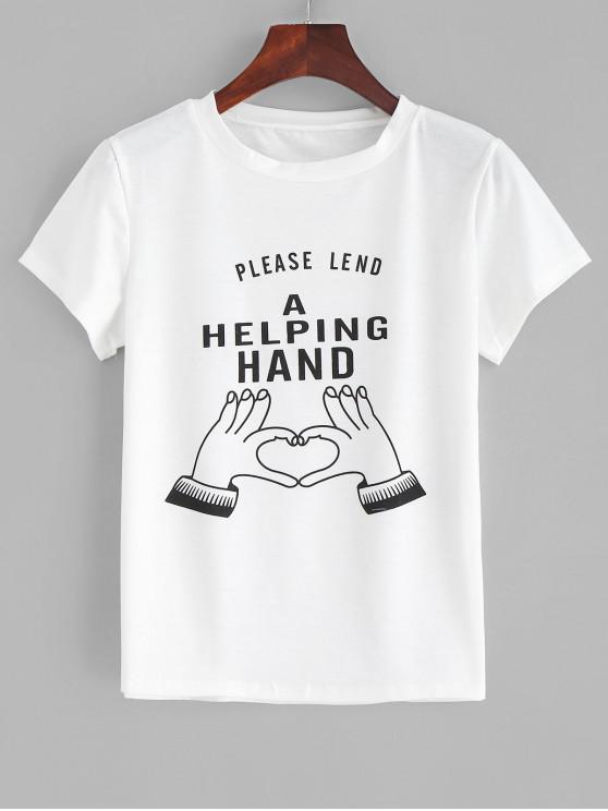 Camiseta con eslogan gráfico - Blanco S