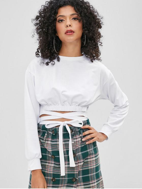 sale Tie Cropped Sweatshirt - WHITE L