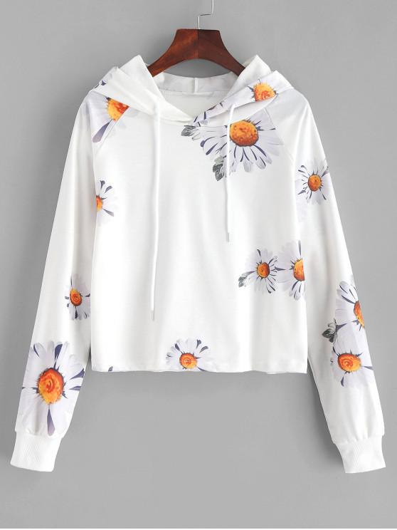 affordable Daisy Print Cropped Hoodie - WHITE S