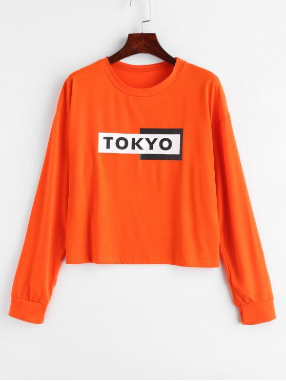 Sweat-shirt Lettre à Goutte Epaule - Orange XL
