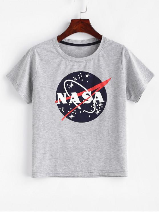 T-shirt gráfico de Marl do ZAFUL - Nuvem Cinzento L