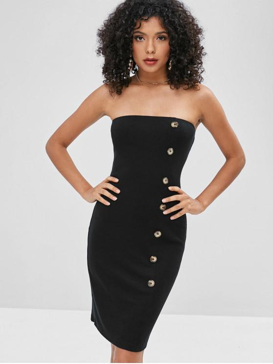trendy Buttons Embellished Plain Strapless Dress - BLACK S