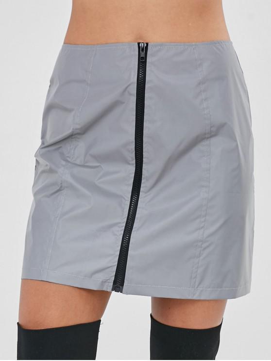 573b12abac 30% OFF] 2019 Zip Up Reflective Short Skirt In GRAY | ZAFUL